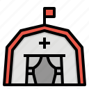 camping, medical, military, safety, tent icon
