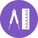 geometry, instrument, measure, measurement, measuring, object, straight icon