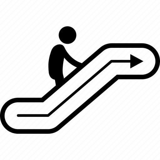 ascending, escalator, going, sign, up icon