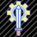 ability, gear, skills, sword icon