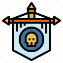 flag, medieval, skull icon