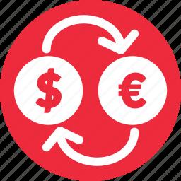 euro to usd, exchange, stocks, usd to euro icon