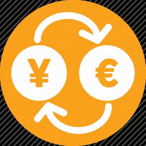 currency, euro, exchange, market, yen icon