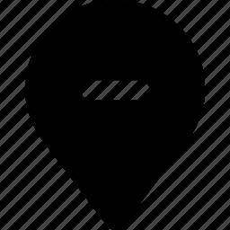 gps, map, minus, pin, remove icon