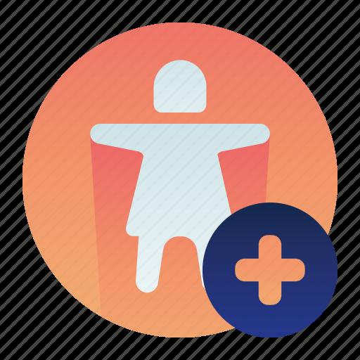 account, add, create, female, new, user icon