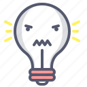 angry, bulb, emoji, light, lightbulb, loud, scream icon