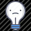 bulb, emoji, light, lightbulb, sad