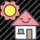 home, house, landpage, sun icon