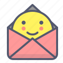 document, envelope, file, mail, message, send, smile icon