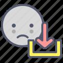 cloud, download, file, sad, smile, web icon