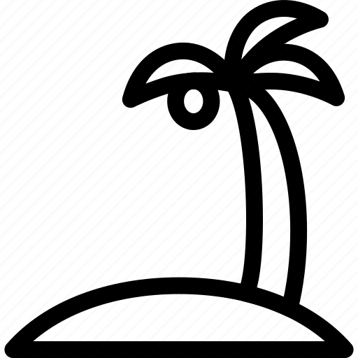 beach, holiday, tropical, uninhabited island icon