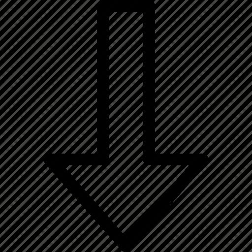 arrow, down, less, lesser icon