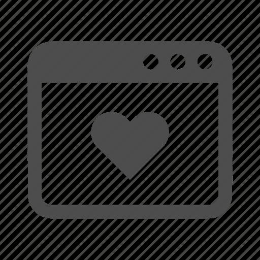 bookmark, browser, favorite, favourite, heart, like, window icon