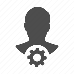 account, cog, gear, person, process, profile, user icon