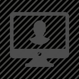 avatar, computer, login, monitor, screen, social, user icon