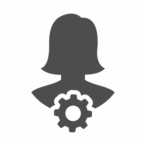 avatar, cog, gear, person, process, user, woman icon