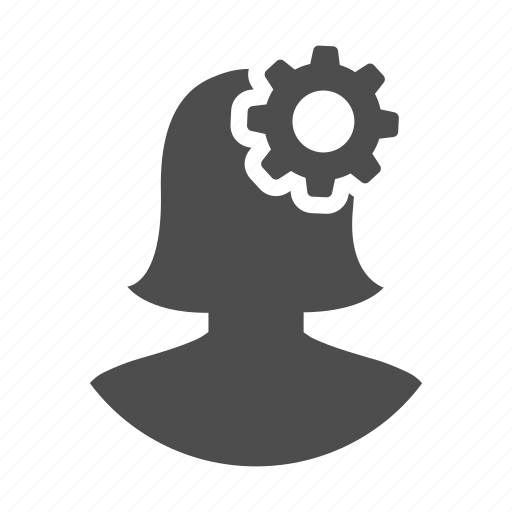 cog, gear, idea, process, think, user, woman icon