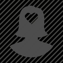 account, avatar, heart, love, person, user, woman icon