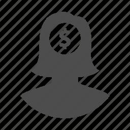 business, dollar, finance, idea, money, user, woman icon