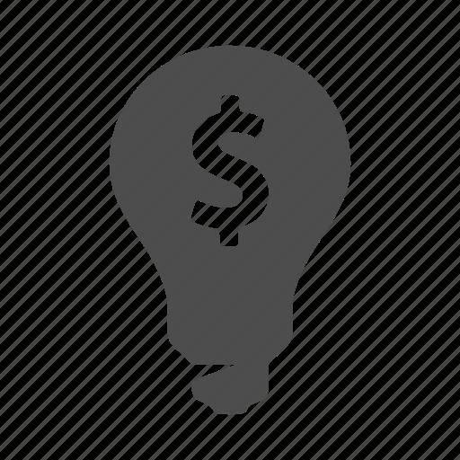 bulb, business, finance, idea, lightbulb, money, profit icon