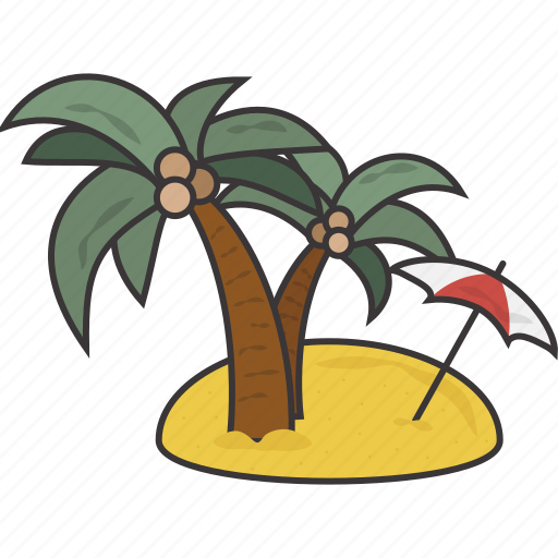 island, tropical, vacation icon