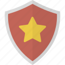 favorite, protection, security, shield, star