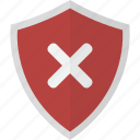 denied, fail, protection, safety, security, shield icon