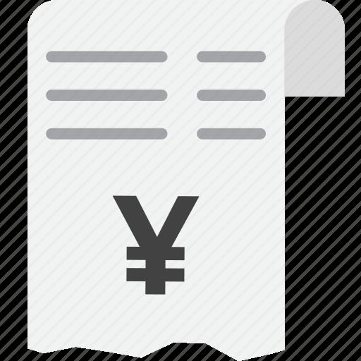 checkout, invoice, receipt, total, yen icon