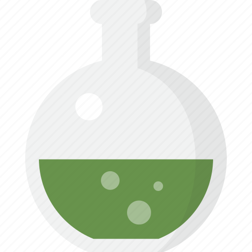 chemistry, equipment, flask, lab, round, science icon
