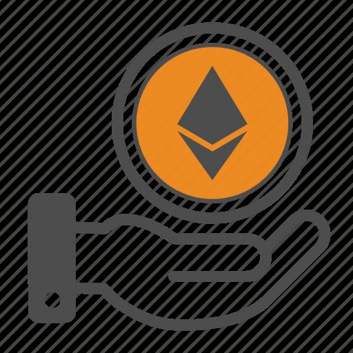 Ethereum, blockchain, hand icon