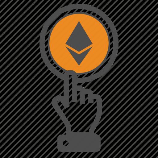 blockchain, ethereum, hand icon