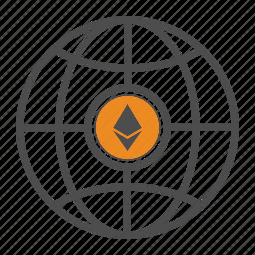 blockchain, ethereum, web, world icon