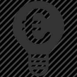 bubble, electric lamp, electricity, euro, european, hint, idea icon