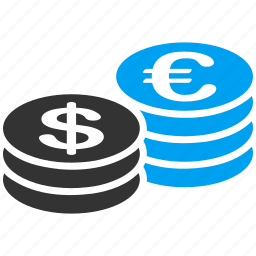 cash, coin stack, currency, dollar coins, euro coins, finance, money icon