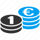 cash, coin stack, currency, euro coins, finance, gold, money icon