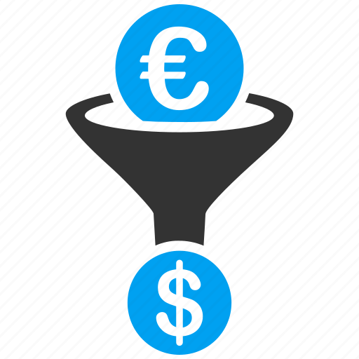 conversion, currency, dollar, euro, european, financial effect, sales funnel icon