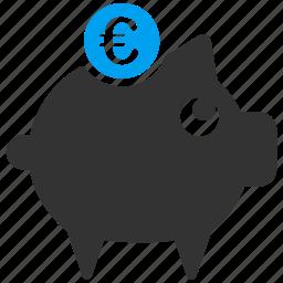 deposit, euro, european, pig, piggy bank, savings, treasure icon