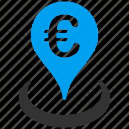 euro, european, geo targeting, location, map marker, pin, travel icon