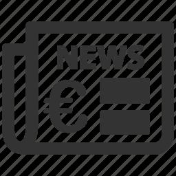 article, euro, european, journal, magazine, news, newspaper icon