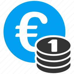 cash, currency, euro bank, finance, money, one coin, payment icon
