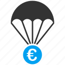 drop, euro, european, papachute, protection, safety, save icon
