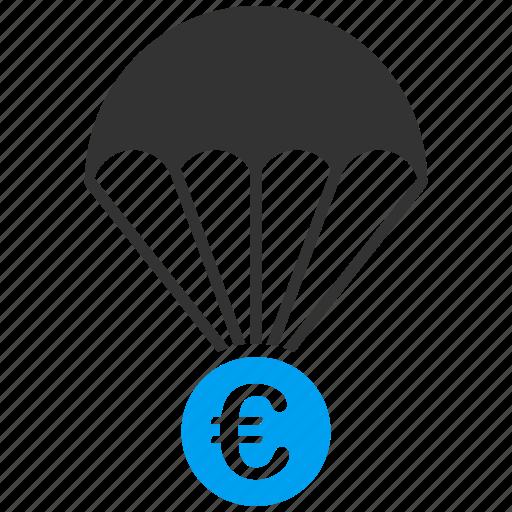 drop, euro, european, papachute, protection, safety, save icon