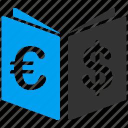 book, catalog, euro, european, open, record, school icon