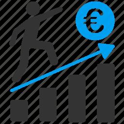 business, euro, european, growth, marketing, planning, success icon