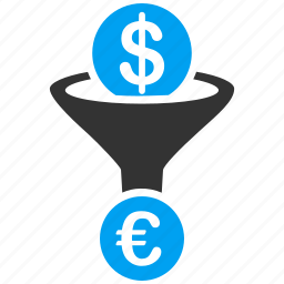 conversion, currency, effect, euro, european, filter, sale funnel icon