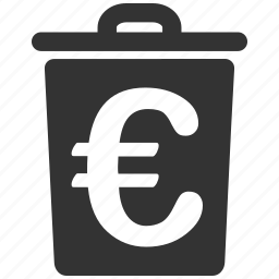 delete, euro, european, recycle bin, remove, rubbish basket, trash can icon