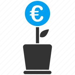 euro, european, flower, growth, plant, project, startup icon