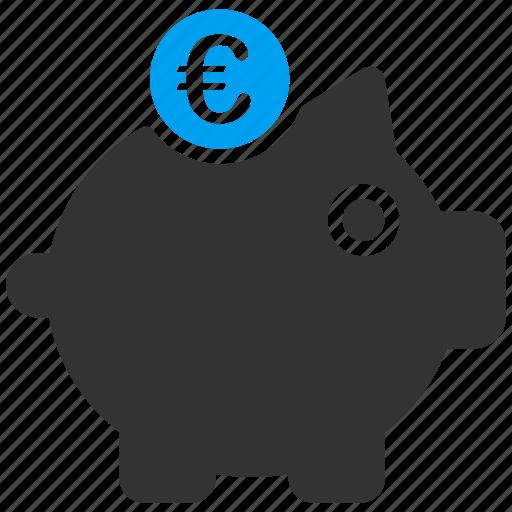 bank, euro, european, finance, piggy, savings, treasure icon