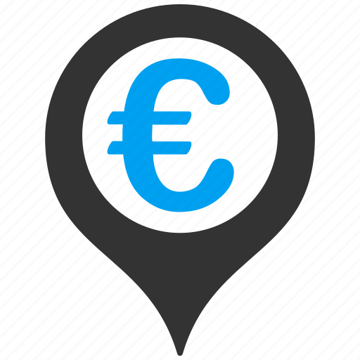 bank, euro, geotargeting, location, map marker, navigation, pointer icon