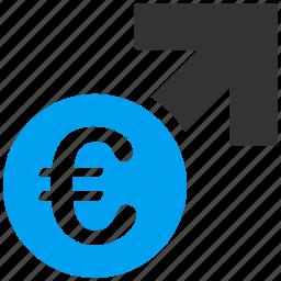 arrow, business, erection, euro, european, graph, growth icon